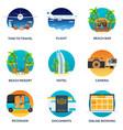 tourism set travelling modern flat vector image