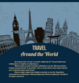 travel around the world retro poster vector image