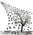 Crows on a tree in winter vector image vector image