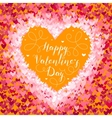 Valentines Day greeting in frame of red hearts on vector image