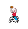 Wheelchair Basketball Player Shooting Ball Cartoon vector image