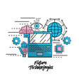 future technologies with global information system vector image