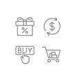 shopping cart discount box and sale icons vector image