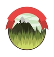 colorful mountain landscape with ribbon vector image