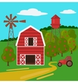 Farm landscape with barn tractor and windmill vector image