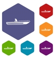 Motor speed boat icons set vector image