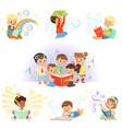 cute little kids reading fairy tales set vector image
