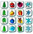 Set of colorful Christmas sketch icons with vector image