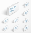 Set of white isometric bubbles with drop shadow vector image vector image