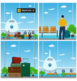 airport waiting room with people vector image