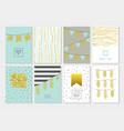 birthday invitation cards set golden glitter vector image