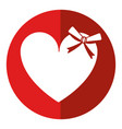cute love heart passion with bow shadow vector image