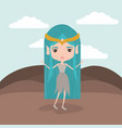 elf princess fantastic character in rock mountain vector image