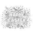 Happy Easter doodle outline composition vector image