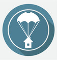 icon parachute on white circle with a long shadow vector image