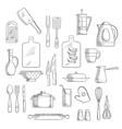 Kitchen utensils and appliances sketches vector image