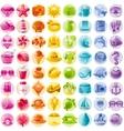 Sea travel icon set contains yacht bikini vector image
