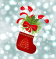 Christmas sock with sweet canes vector image vector image