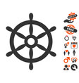 boat steering wheel icon with love bonus vector image