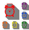 alarm clock sign set of red orange yellow vector image