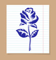 rose on line notebook page vector image