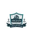 nautical badge of frigate ship ocean waves vector image