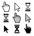 Pixel cursors icons vector image