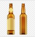 realistic golden brown bottles of beer on alpha vector image
