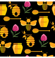 Seamless abstract pattern with bee and honey vector image vector image