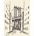 Manhattan bridge New York United States sketch vector image