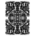 decorative black pattern with animals and flowers vector image vector image