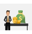 banking man business sit with bag money and coins vector image
