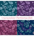 hand drawn paisley seamless patterns set vector image