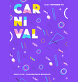 purple carnival poster abstract memphis 80s 90s vector image