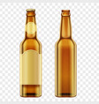 realistic golden brown bottles of beer on alpha vector image