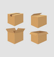 set of four cardboard boxes open and closed box vector image