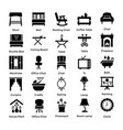 set of interior and decoration glyph icons 5 vector image