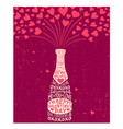 valentines day hand drawn champagne hearts vector image