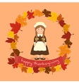 Circle Autumn Leaf Thanksgiving Braid Girl vector image