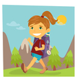 Girl Scout Girl in Hike Girl with Backpack vector image