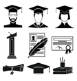 Graduation icons set vector image