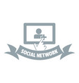 social network logo simple gray style vector image