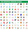 100 graphic design icons set cartoon style vector image