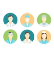 Doctors and Medical Staff in Circle Set vector image