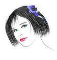picture of a girl with dark hair and green eyes vector image