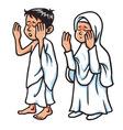 Boy And Girl Hajj Praying vector image