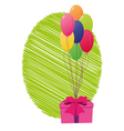 greeting card with gift box and balloons vector image