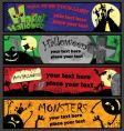Halloween banners in different colors vector image