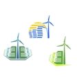 Houses with wind turbines vector image