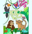 jungle forest with animals cartoon vector image